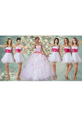 Wonderful Ruffled and Applique Quinceanera Dress and Short Beaded White Dama Dresses