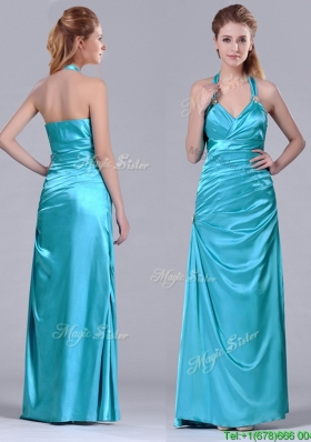 2016 Column Halter Top Elastic Woven Satin Aqua Blue Christmas Party Dress with Ruching