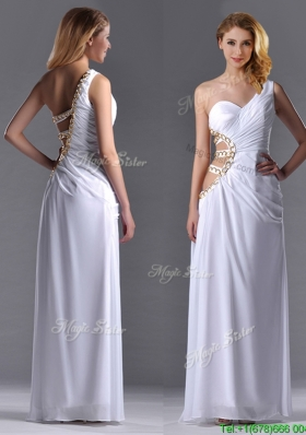 Beautiful Cut Out Waist One Shoulder White Christmas Party Dress with Beading