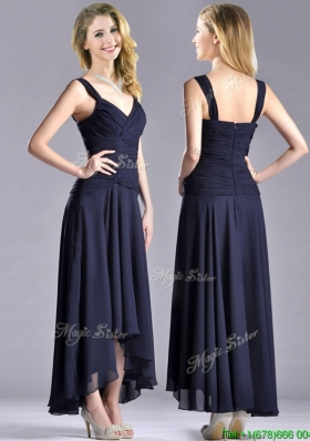 Beautiful Straps Black Chiffon Prom Dress with High Low