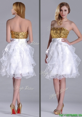 Classical Organza Sequined and Ruffled Christmas Party Dress in White and Gold