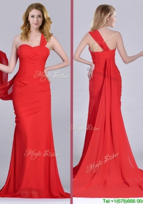 Column One Shoulder Watteau Train Coral Red Christmas Party  Dress with Side Zipper