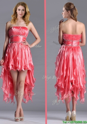 Elegant Strapless High Low Beaded Decorated Waist Christmas Party Dress in Coral Red