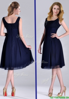 Latest Square Empire Chiffon Navy Blue Christmas Part Dress with Ruching