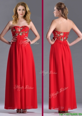 Luxurious Applique with Sequins Red Christmas Party Dress in Ankle Length