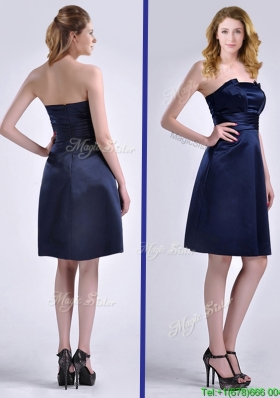 Luxurious Strapless Zipper Up Ruched Christmas Party Dress in Navy Blue