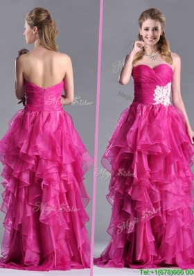 Modern Brush Train Fuchsia Christmas Party Dress with Appliques and Ruffles