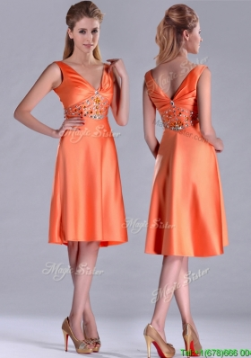 New Arrivals V Neck Beaded Short Christmas Party Dress in Orange Red