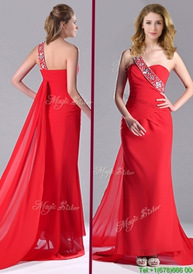 Pretty Column One Shoulder Watteau Train Chiffon Coral Red Christmas Party Dress with Beaded