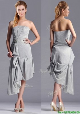 Discount Side Zipper Strapless Silver Mother Dress in Asymmetrical