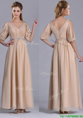 Elegant Beaded and Ruched V Neck Long Mother Dress in Champagne