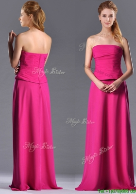 Elegant Hot Pink Strapless Long Mother Dress with Zipper Up