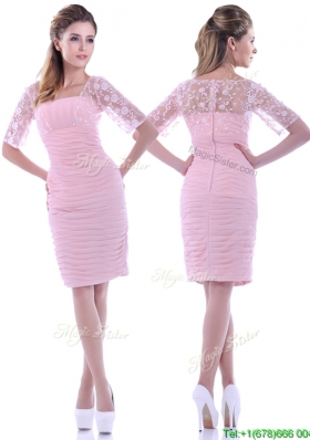 Elegant Ruched and Laced Square Baby Pink Mother Dress with Half Sleeves