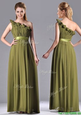Empire One Shoulder Ruched and Belt Mother Dress in Olive Green