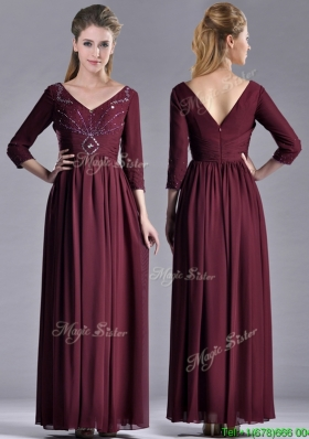Latest Beaded V Neck Burgundy Mother Dress with Three Fourth Length Sleeves