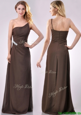 Low Price One Shoulder Taffeta Beaded Mother Dress in Brown