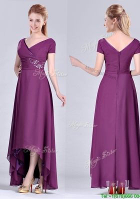 Short High-low Chiffon Dark Purple Short Sleeves Mother Dress with V Neck