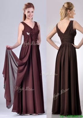 Simple Empire V Neck Chiffon Long Mother Dress in Brown