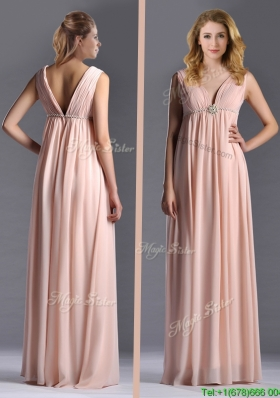 Elegant Empire Chiffon Ruching Long Pink Mother Dress with V Neck