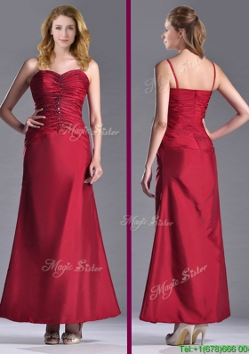 Exclusive Spaghetti Straps Wine Red Mother Dress with Beading and Ruching