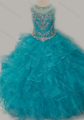 Beautiful Ball Gown Scoop Beaded Bodice Little Girl Pageant Dress with Lace Up