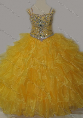 Beautiful Sweetheart Mini Quinceanera Dresses with Spaghetti Straps in Yellow