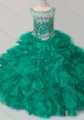 Exquisite Beaded and Ruffled Organza Mini Quinceanera Dresses in Green
