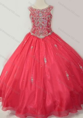 Hot Sale Puffy Scoop Mini Quinceanera Dress with Beading in Coral Red