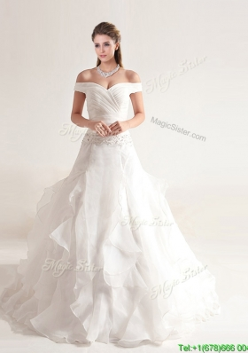 Beautiful A Line Off the Shoulder Wedding Dresses with Beading and Ruffles