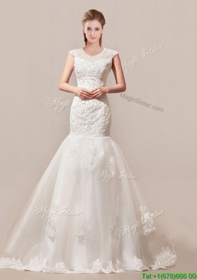 Decent Column Button Up Wedding Dress with Beading and Lace for 2016