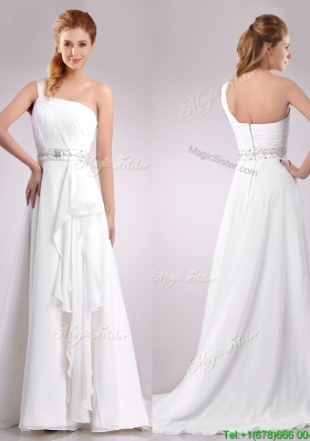 Delicate One Shoulder Brush Train Beaded Wedding Dress in Chiffon for 2016
