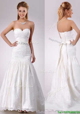 Elegant Mermaid Beaded and Bowknot Laced Wedding Dress with Brush Train