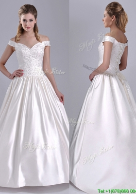 Exquisite Ball Gown Off the Shoulder Brush Train Beaded Wedding Dress in Satin