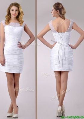Fashionable See Through Scoop Taffeta Short Wedding Dress with Beading