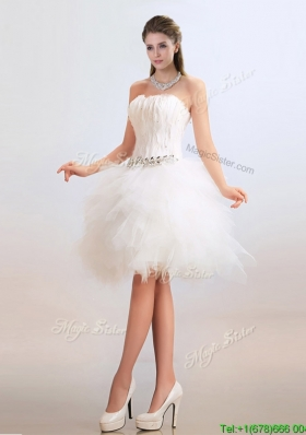 Lovely Ball Gown Short Wedding Dresses with Feather and Beading