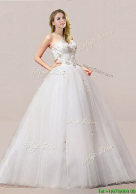 Luxurious Ball Gown Beaded and Applique Wedding Dresses with Strapless