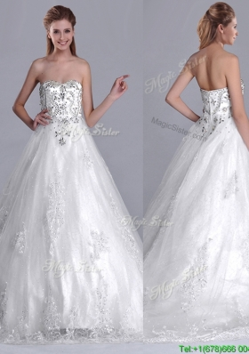 Luxurious Strapless Princess Brush Train Beaded Wedding Dress in Tulle