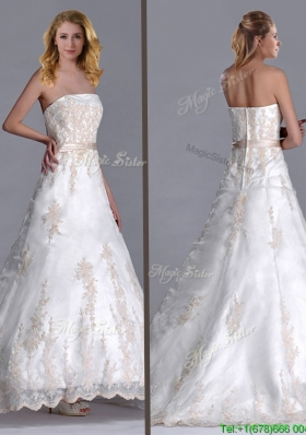 Popular Princess Strapless Applique and Belted Wedding Dress with Brush Train