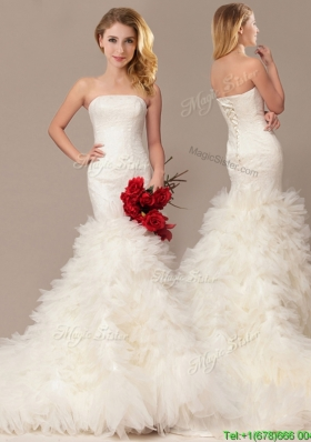 Elegant Mermaid Court Train Wedding Dresses with Ruffles