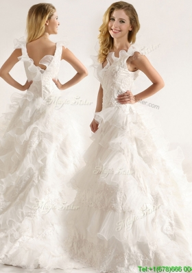 Fashionable Applique and Ruffled Layers Wedding Dresses with Deep V Neck