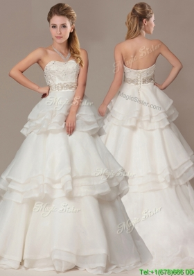 Lovely A-line Brush Train Wedding Dresses with Beading and Ruffles Layers