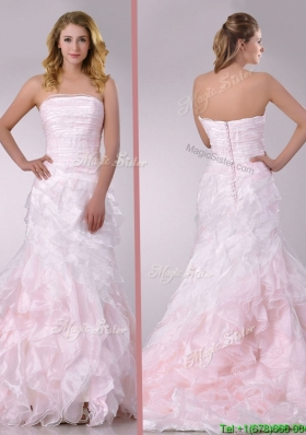 Most Popular Sweep Train Ruffled Light Pink Wedding Dress in Organza