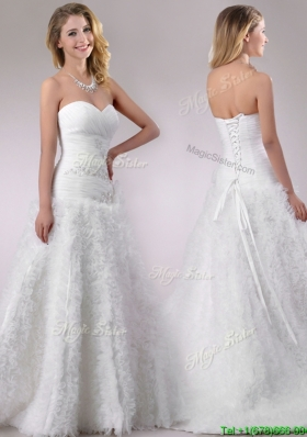 Romantic Beaded and Ruffled Rolling Flowers Wedding Dress with Brush Train