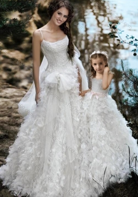 Luxurious  Wedding Dresses with Ruffles and Beautiful Straps Flower Girl Dress with Bowknot