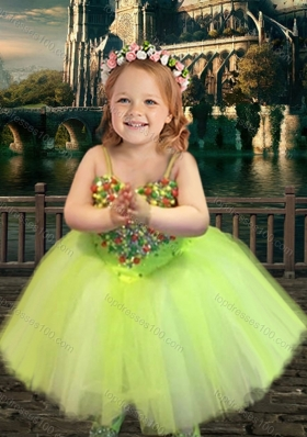 New Arrival Yellow Green Spaghetti Straps Flower Girl Pageant Dress with Beading