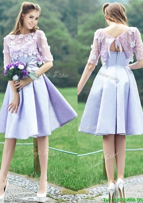 Cheap New Style Bateau Half Sleeves Lavender Dama Dresses  with Appliques