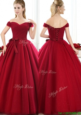 Elegant New Arrivals Off the Shoulder Wine Red Mother Dresses with Bowknot