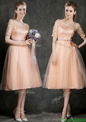 Elegant Scoop Half Sleeves Mother Dresses  with Sashes and Lace