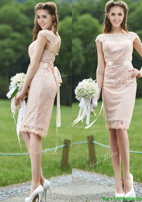 Elegant See Through Scoop Cap Sleeves Mother Dresses  with Sashes