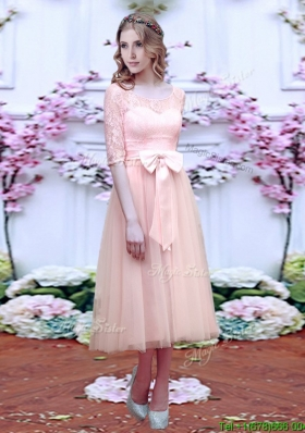 Elegant See Through Scoop Half Sleeves Mother Dresses  with Bowknot